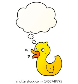 cartoon quacking duck with thought bubble in smooth gradient style