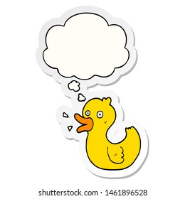 cartoon quacking duck with thought bubble as a printed sticker