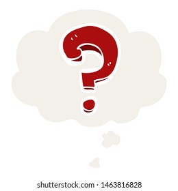 cartoon question mark with thought bubble in retro style
