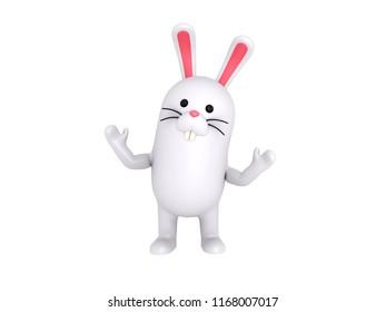 Cartoon Rabbit in 3D rendering.
