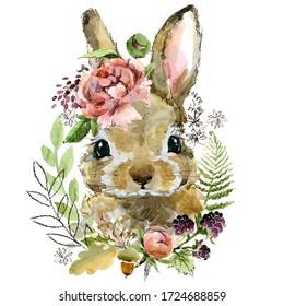 cartoon rabbit. forest animal illustration. cute watercolor hare