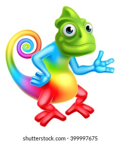 A cartoon rainbow chameleon lizard character mascot
