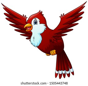 Cartoon a red bird waving isolated on white background