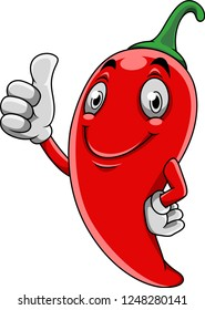 Cartoon red chili pepper giving thumb up