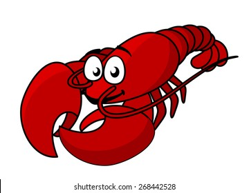 Cartoon red lobster mascot with long tail isolated on white