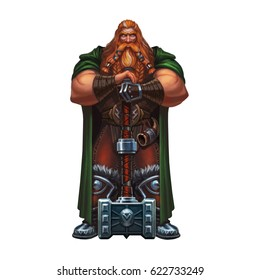 Cartoon redheaded viking with a two-handed hammer