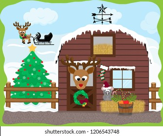 Cartoon reindeer standing at a stable door next to an adorable christmas mouse with a santa hat standing on a bale of hay next to a bucket of candy canes, with a sleigh in the farmer's field.