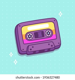 Cartoon retro cassette tape drawing in bright 80s style. Old school audio equipment, clip art illustration.