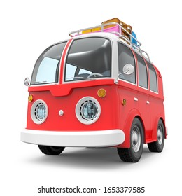 Cartoon retro travel van with roof rack and suitcases isolated on white. 3d illustration