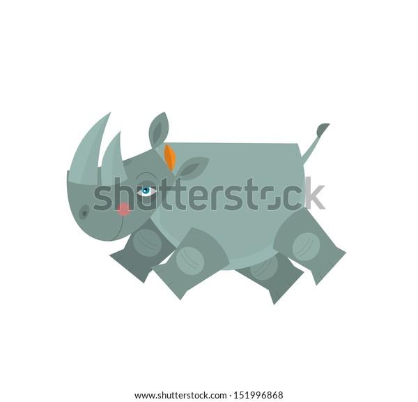Cartoon Rhino Illustration Children Stock Illustration 151996868