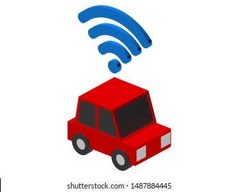 A cartoon ride hailing red car with a cartoon WiFi connection sign on white background