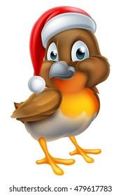 A cartoon robin Christmas bird wearing a Santa Claus hat
