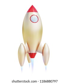 Cartoon Rocket Ship isolated on White Background. 3D illustration