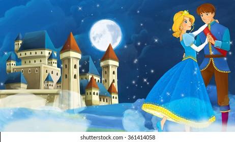 Cartoon romantic scene with royal pair - illustration for the children