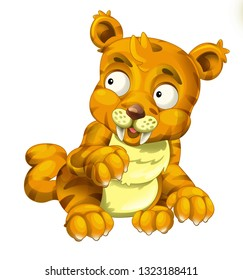 Cartoon sabre tooth wild cat isolated on white background - illustration for the children