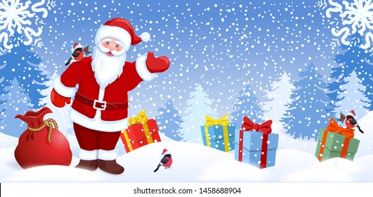 Cartoon Santa Claus with Christmas red bag and gift boxes on background of  New Years winter forest