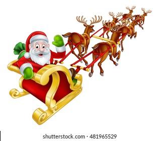 Cartoon Santa Claus and his reindeer Christmas sleigh sled