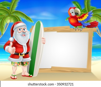 Cartoon of Santa Claus holding a surf board giving thumbs up in Hawaiian board shorts and flip flop sandals in front of a sign on a beach with a parrot on the sign and palm trees in the background