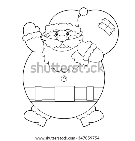 cartoon santa claus isolated coloring page illustration for the children