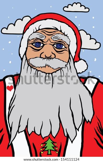 Cartoon of Santa Claus on Christmas day.