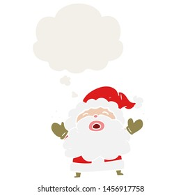 cartoon santa claus shouting with thought bubble in retro style