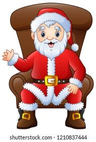 Cartoon santa claus sitting in armchair on a white background