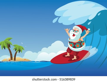 Cartoon Santa Claus surfing a gnarly wave while giving the shaka hand sign. Background with copy space for tropical Christmas or after Christmas.