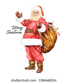 Cartoon Santa Claus watercolor. Santa Claus character with gift, bag with presents layer path, clipping path isolated on white background. For Christmas cards, banners, tags and labels.