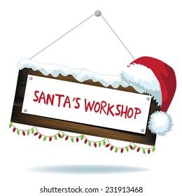 Cartoon Santas workshop sign isolated