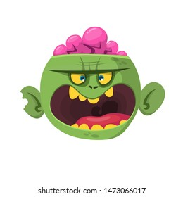 Cartoon scary green zombie with pink brains outside of the head. Halloween character illustration