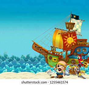 Cartoon scene of beach near the sea or ocean - pirate captain on the shore and treasure chest - pirate ship - illustration for children