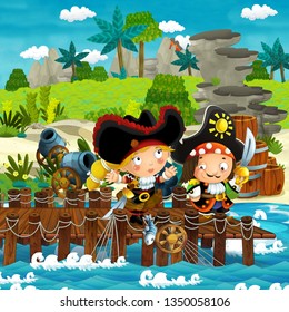 cartoon scene with beach shore with wooden traditional pier harbor on some tropical island with pirate captains girl and boy - illustration for children