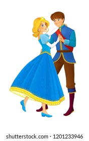 cartoon scene with beautiful princess and prince dancing on white background - illustration for children