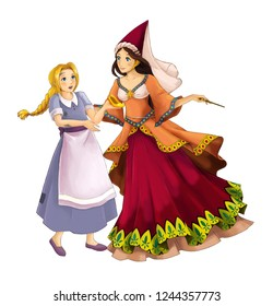 cartoon scene with beautiful princess sorceress casting spell on young girl on white background - illustration for children
