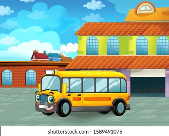 cartoon scene with car vehicle on the road near the garage or repair station - illustration for children