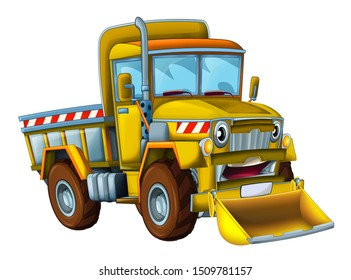 cartoon scene with cargo truck looking and smiling with snow plow on white background - illustration for children