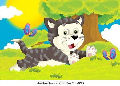cartoon scene with cat having fun on the farm - illustration for children