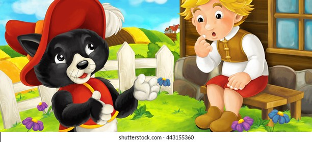 Cartoon scene of a cat standing near the farmer boy and talking in the backyard - illustration for children