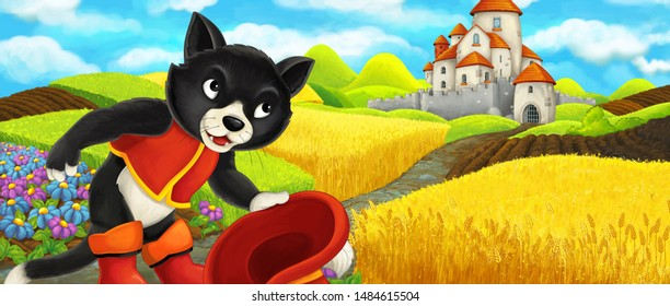 Cartoon scene - cat traveling to the castle on the hill near the farm ranch - illustration for children