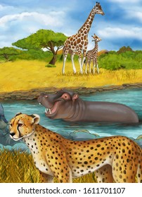 cartoon scene with cheetah cat hippopotamus hippo swimming in river near the meadow and some giraffes resting illustration