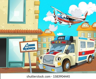 cartoon scene in the city with happy ambulance driving through the city and plane is flying - illustration for children