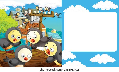 cartoon scene with cityscape and birds flying or landing with frame for text - illustration for children