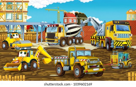 cartoon scene with different construction site vehicles - illustration for children