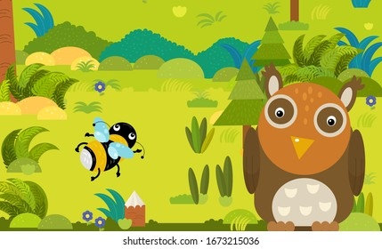 cartoon scene with different european animals in the forest illustration for children