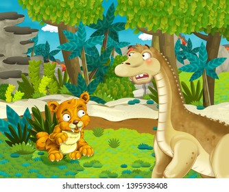 cartoon scene with dinosaur apatosaurus diplodocus brontosaurus with some other animal tiger sabre tooth in the jungle - illustration for children