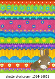 cartoon scene with easter rabbit - happy easter card - illustration for children