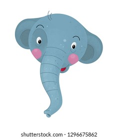 cartoon scene with elephant body part on white background with sign name of animal - illustration for children