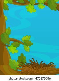 Cartoon scene with empty nest - illustration for children