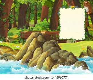 cartoon scene of forest and the meadow with owls and shore of sea - title page with space for text - illustration for children