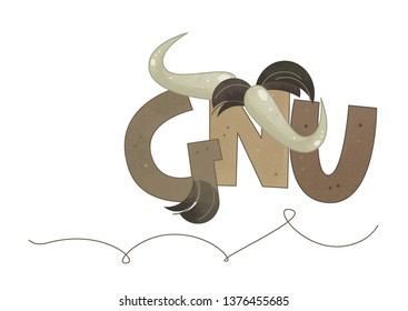 cartoon scene with gnu sign of a name on white background - illustration for children